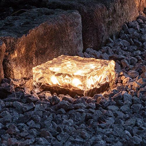 Lights4fun Adoquín Solar Grande de luz LED Blanca cálida para Uso en Exteriores