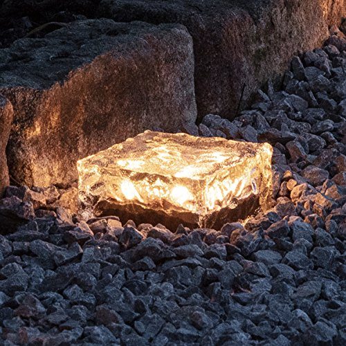 Lights4fun LED Solar Glas Pflasterstein Wegbeleuchtung warmweiß groß