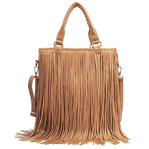 bcafcb4017 Caszel Womens Large Waterproof PU Leather Fringe Tassel Shoulder Bag Casual Hobo  Handbag Crossbody Bag