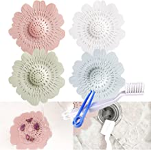 Daily Treasures 4Pack Drain Hair Catcher, Colorful Flowers Shape Hair Stopper Drain Protector Covers with 1Pcs Cleaning Br...