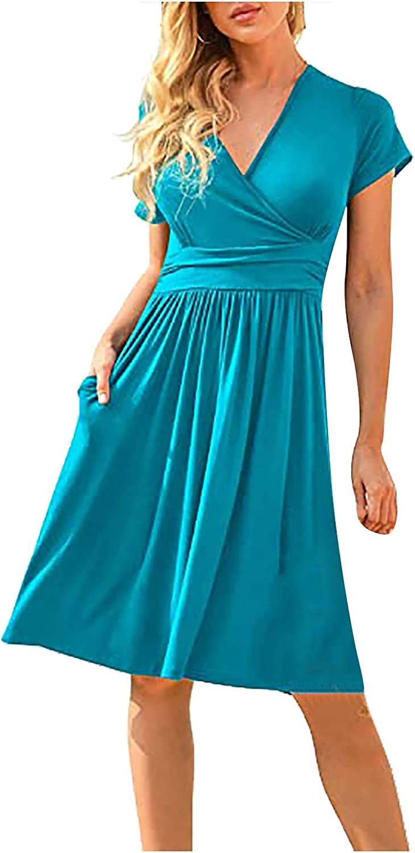 JPLZi Women's Summer Casual Short Sleeve V-Neck Short Party Dress with Pockets