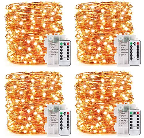YOEEN 4 Pack 33Ft 100 LED Fairy Lights Battery Operated String Lights with 8 Modes Remote Control Timer Waterproof Copper Wire Twinkle Lights for Bedroom Wedding Party Chirstmas Decor, White Warm