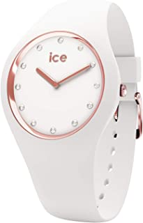 Ice-Watch - Ice Cosmos White Rose-Gold - Montre Blanche pour Femme avec Bracelet en Silicone - 016300 (Small)