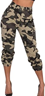 SOMTHRON Women's Printed Loose Hip Hop Harem Cargo Pants 5XXL Belted Casual Camo Swaggy Sweatpants Leggings Plus Size