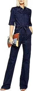 HaoDuoYi Women Denim Wide Leg Pants Tie Front Half Sleeve Jumpsuit