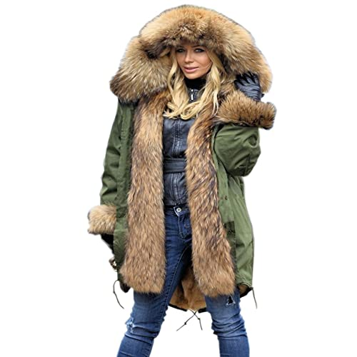 Aofur New Ladies Parka Jacket Women Cotton Casual Trench Fur Collar Hooded Jacket  Parka Coat Size 6fc9da31fa