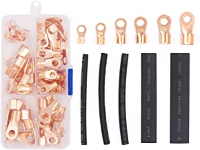 Hilitchi 135-Pcs Open Barrel Wire Crimp Copper Ring Lugs Terminal Connector with 2:1 Heat Shrink Tubing Assortment Kit - OT 5A 10A 20A 30A 40A 50A