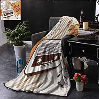 SSKJTC 70s Party King Size Throw Blanket Party Art with Old Radio Sofa Camping Reading Car Travel W60 xL80