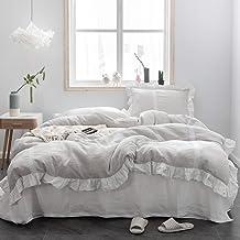 مجموعة غطاء لحاف Simple&Opulence 100% كتان مزخرف وكتاني، حافة مكشكشة أنيقة مع بطانة من الدانتيل، 3 قطع من أغطية السرير الم...