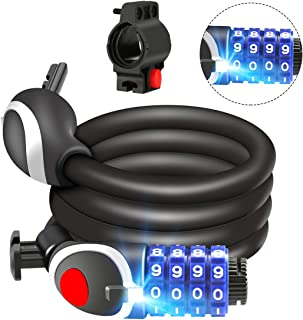Awroutdoor Candado de Bicicleta Seguridad Candado de Cable Mejor Combinación con Flexible montaje Cable de Bloqueo antirrobo alta seguridad para la bicicleta al Aire Libre 120cm X12mm