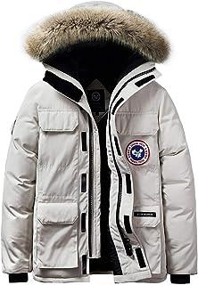 JIINN Winter Men's Warm Outdoor Hooded Jacket Windproof Parka Coat Fur Hooded