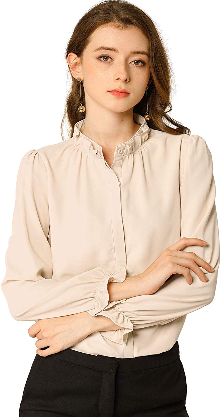 Allegra K Women's Button-Down Work Office Tops Elegant Chiffon Ruffled Stand Collar Blouse