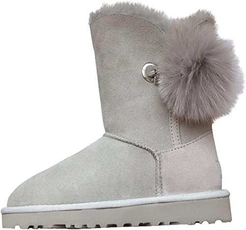 Qiusa Bottes de Neige imperméables Anti-fouling pour Femmes Bottes en Coton Chaudes (Couleuré   gris, Taille   38EU)