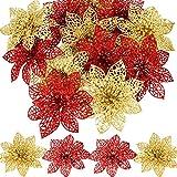 SATINIOR 30 Piezas de Poinsettia Brillante de Navidad Flor Artificial de Boda para Decoración de Árbol de Navidad Guirnalda de Flor