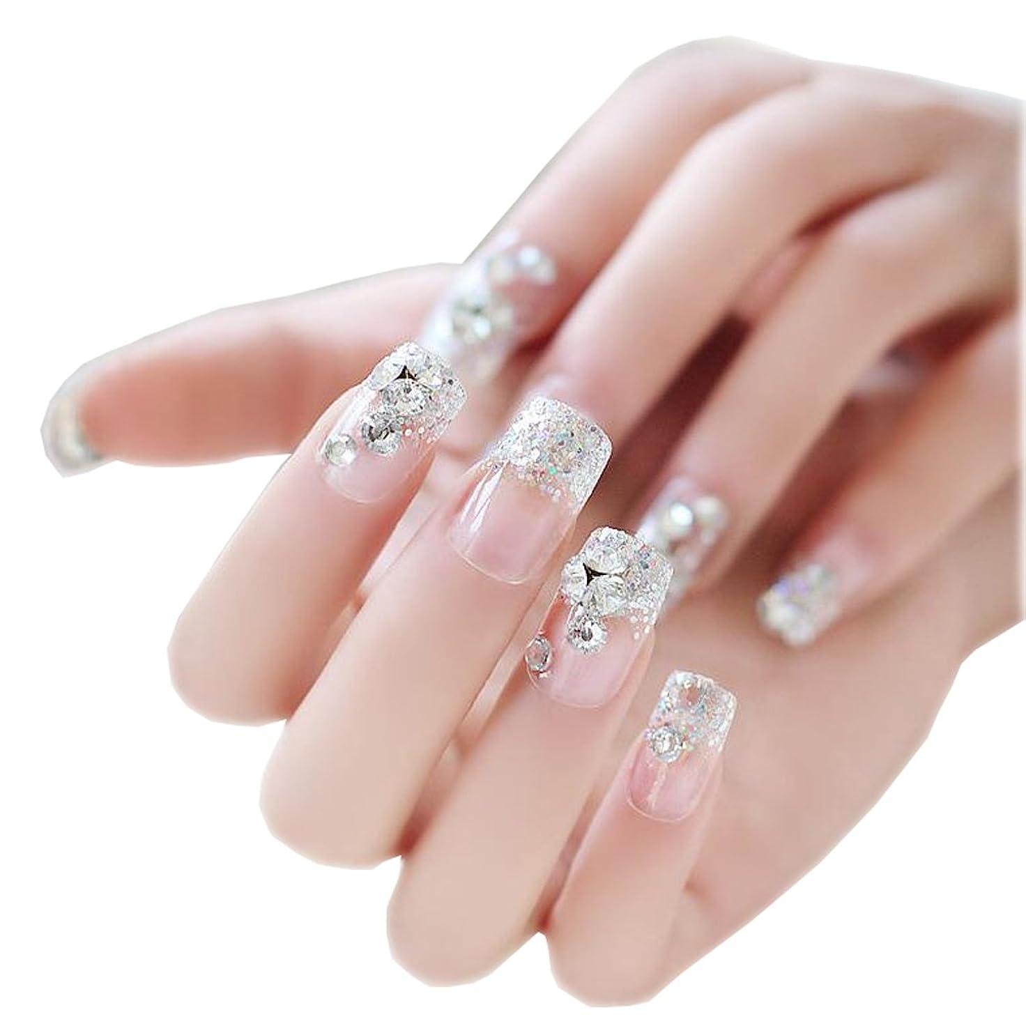 試み家事をするのためにネイルアートデカールのネイルは一時的にダイヤモンドで透明に包み込みます