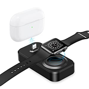 2 in 1 Charger Dock for iWatch and Airpods, Watch Charging Stand Compatible with Apple iWatch Series 6/SE/5/4/3/2/1 (38mm/40mm/42mm/44mm) & Airpods Pro/2/1