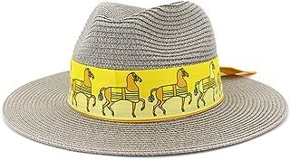 Sun Hat for men and women Fashion Summer Women's Jazz Straw Sun Hat Wide Brim Beach Tape Outdoor Hat Formal Wedding Party Fedora Hat