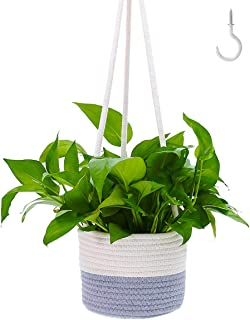 Indoor Hanging Planter Plant Basket Up to 8 Inch Pot Holder Hanger Cotton Rope Woven Basket Modern Home Decor