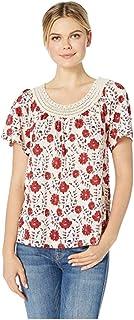 Lucky Brand womens RED CROCHET SHORT SLEEVE TEE Shirt