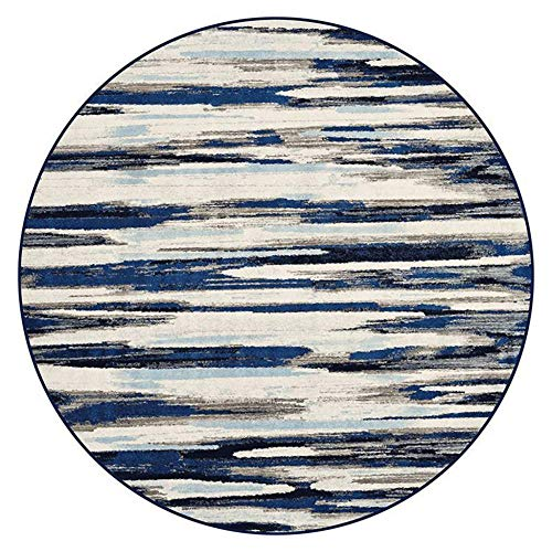 NLGGY 120CM-47inch Rug Deco Rings Modern Casual Round Area Rug Blue Easy to Clean Stain/Fade Resistant Contemporary Living Dining Room Bedroom Rug
