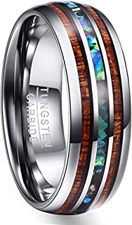 Vakki 8mm Hawaiian Koa Wood and Abalone Shell/Imitated Opal Tungsten Carbide Rings Wedding Bands for Men Comfort Fit Size 4 to 17