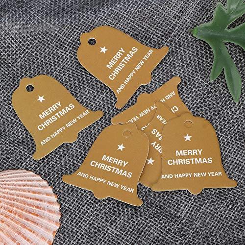 Etiquetas de regalo Etiqueta de regalo de boda Fácil de colgar Etiqueta de árbol de Navidad Etiqueta engrosada tarjeta papel partido favores(amarillo, campanas)