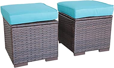 OC Orange-Casual 2 Piece Patio Rattan Ottoman, All Weather Wicker Ottoman with Blue Cushion, Brown Wicker