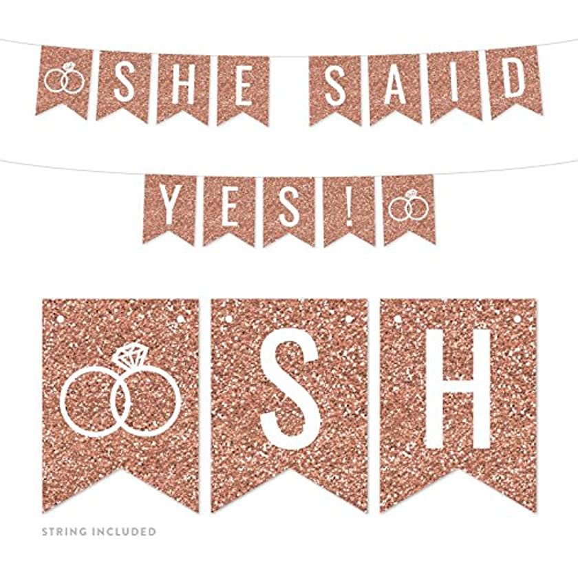 Andaz Press Rose Gold Faux Glitter Background Wedding Party Banner Decorations, She Said Yes!, Approx 5-Feet, 1-Set, Champagne Colored Hanging Pennant Decor Backdrop Supplies