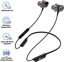 $44 Get Bluetooth 5.0 Wireless Headphones - 6D Sound Effect - Up to 28 Hours Per Charge, High-End Premium Deep Bass, IPX8 Waterproof Sport in-Ear Earphones - Neckband for Running and Workouts w/ Built-In Mic