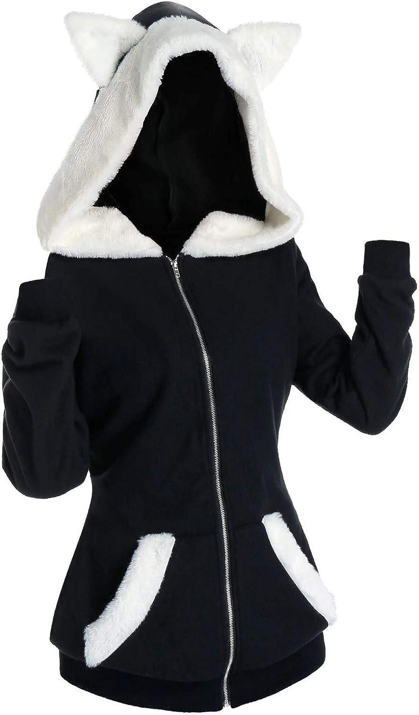 Women's Hooded Sweatshirt Cute Cat Ear Hoodies Long Sleeve Faux Fur Insert Zip Up Pullover Tops Lightweight Jacket