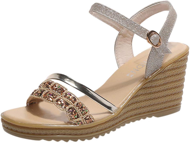 Wallhewb Caopixx Women's High Heel Platform Wedges Sandals Casual Peep Toe Casual shoes Dancing shoes Highten Increasing Comfortable Leg Length Elegant Soft High-Heeled Skinny Joker gold US 5 shoes