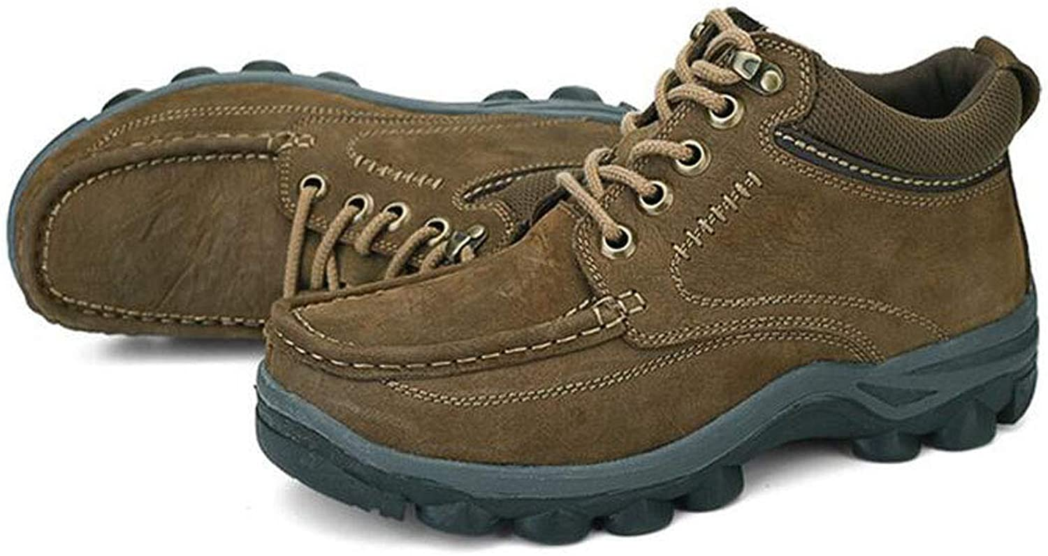 Men's Casual shoes, Non-Slip shoes Hiking Boots Suede Leather Waterproof and Breathable Lightweight shoes (color   Brown, Size   38)
