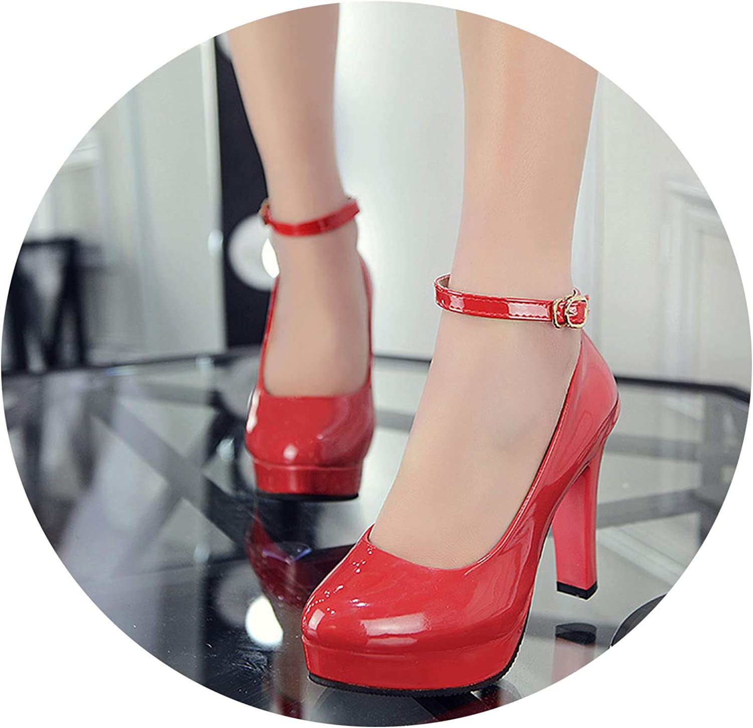 Autumn Ankle Strap Platform Thick Heel shoes ol Patent Leather High-Heeled Ultra High Heels shoes