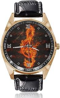 Nota de música de fuego personalizado personalizado para hombre reloj para mujer impermeable de acero inoxidable cuarzo re...