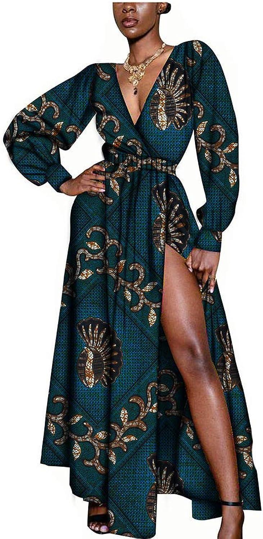 African Dresses for Women Party Wear Wax Print Ankara Split Dashiki Clothing Beige