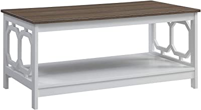 Convenience Concepts Omega Coffee Table, Driftwood Top / White Frame