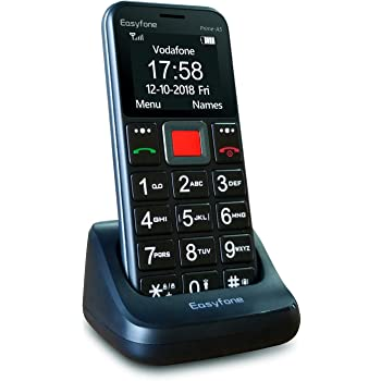 Easyfone Prime-A5 Teléfono Móvil para Mayores con botón SOS y Base cargadora (A5 Negro): Amazon.es: Electrónica