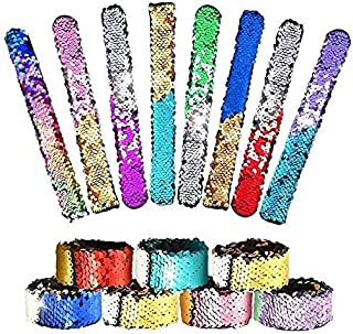 24 Pack Little Mermaid Magic Charm Reversible Sequin Slap Bracelets, Birthday Party Favors Supplies Gifts for Girls Kids, Pink Blue Purple