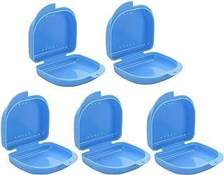 Frcolor 義歯ケース 入れ歯ケース 義歯ボックス 入れ歯収納 義歯収納容器 リテーナーボックス 通気孔 旅行携帯用 コンパクト 軽量 5個セット(ブルー)