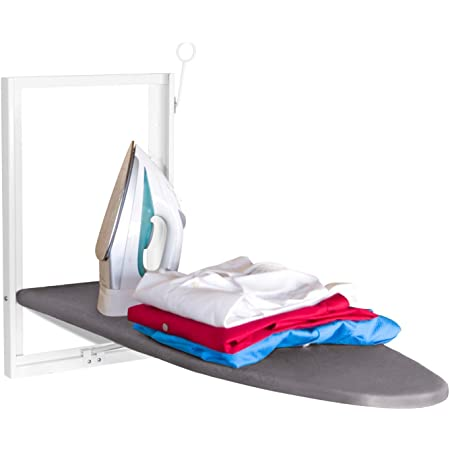 Xabitat Wall Mounted Ironing Board - Compact Mount Fold Down Ironing Board for Small Spaces - Space Saving with Cotton Fabric Cover - White and Grey