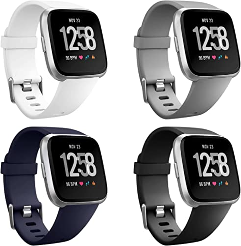 Neitooh 4 Packs Bands Compatible with Fitbit Versa/Versa 2/Fitbit Versa Lite for Women and Men, Classic Soft Silicone...