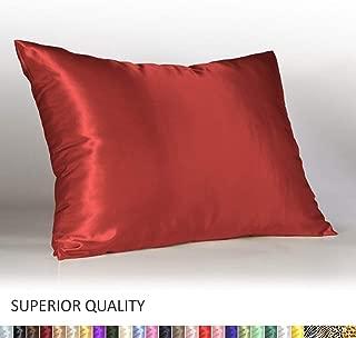 Shop Bedding Luxury Satin Pillowcase for Hair – Standard Satin Pillowcase with Zipper, Red (1 per Pack) – Blissford