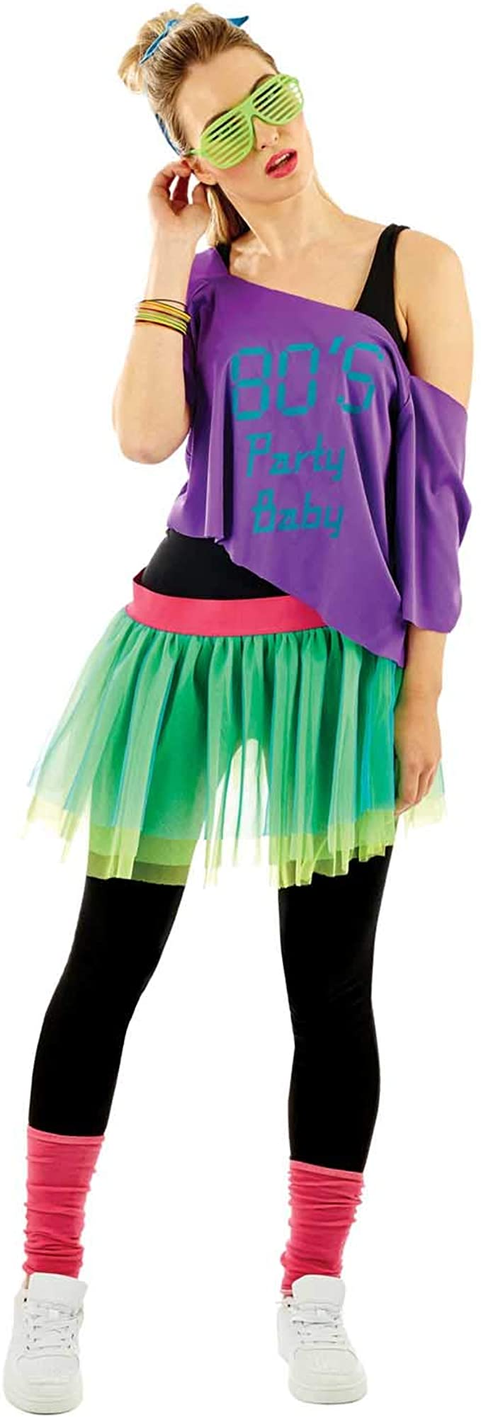 1980s Clothing, Fashion | 80s Style Clothes Womens 80s Purple & Green Neon Costume Adults Decades Party Tutu Outfit - One Size  AT vintagedancer.com