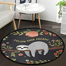Vdsrup Tropical Tree Poppy Cute Sloth Round Doormat Funny Animal Flowers Non Slip Absorbent Round Rug Floor Carpet Yoga Ma...
