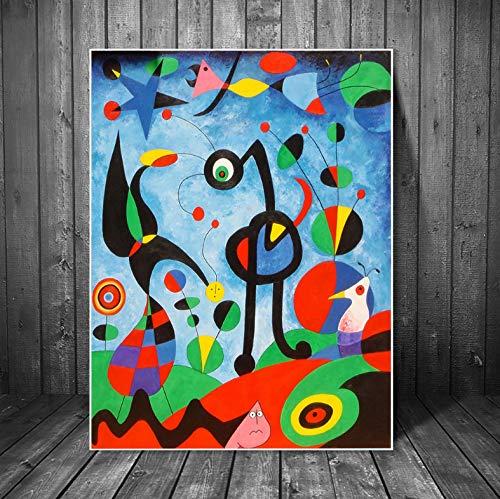 meilishop The Garden 1925 por Joan Miro Reproducciones De Obras De Arte Famosas Pinturas Abstractas En Lienzo De Joan Miro Cuadros De Pared Decoración De Pared para El Hogar A113 (40X50Cm) Sin Marco