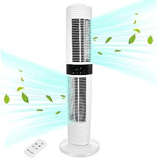MYCARBON Ventilateur Tour Silencieux Oscillant 360° ECO Mode Ventilateur Colonne sur Pied avec Télécommande 350m³/h 45W 8H...