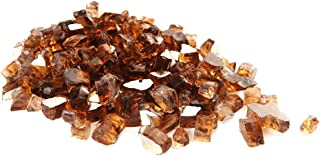 Fire Glass Rocks for Firepit -Glass Stones for Fire Pit Indoor and Outdoor Propane & Gas Fireplace Glass Beads - Vase Filler Gem Glass, Semi-Reflective | 10 Pounds | 1/4 Inch | Brownish Grayish Luster