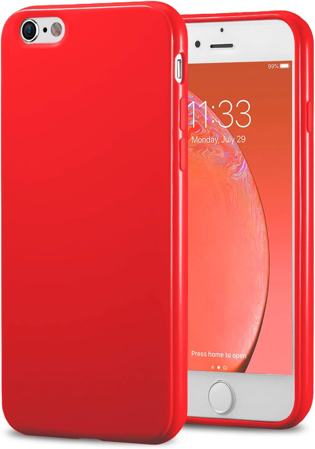 TENOC Phone Case Compatible for Apple iPhone 6S Plus and iPhone 6 Plus 5.5 Inch, Slim Fit Cases Soft TPU Bumper Protective Cover, Glossy Red