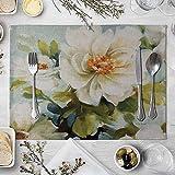 NTT Tovagliette Americane Lavabili Plastica,Tovagliette in Lino e Cotone Vintage Flowers Tovagliette per Bambini Tovagliette da Cucina per Bambini-4