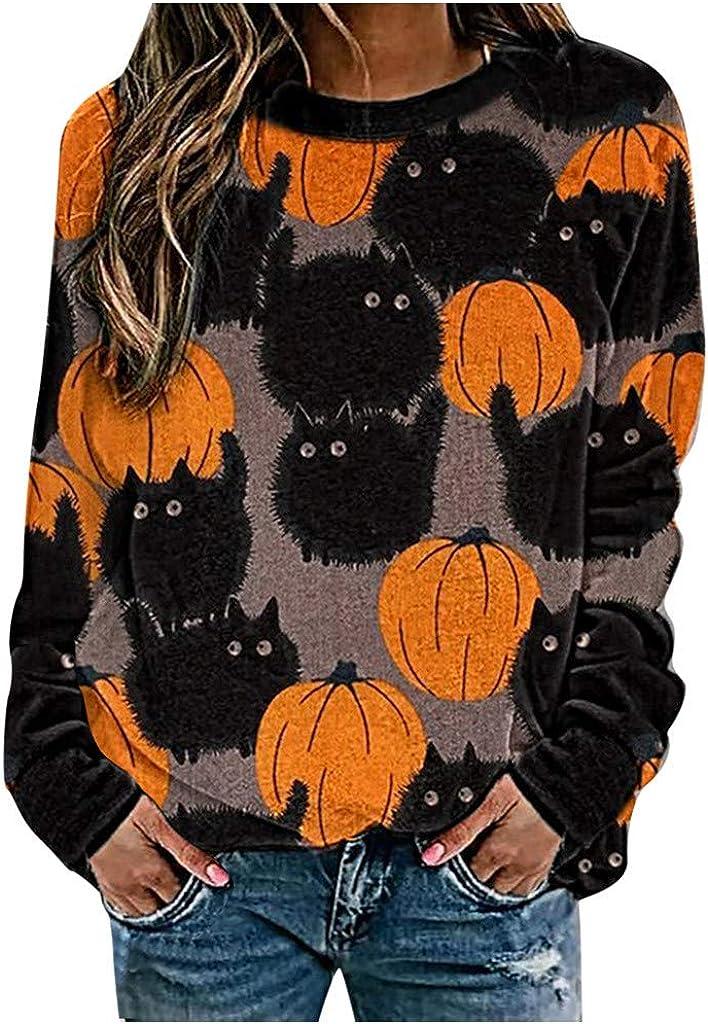 felwors Sweatshirts for Women,Womens Casual Pumpkin Halloween Costumes Long Sleeve Pullover Tops Crewneck Sweater Blouse